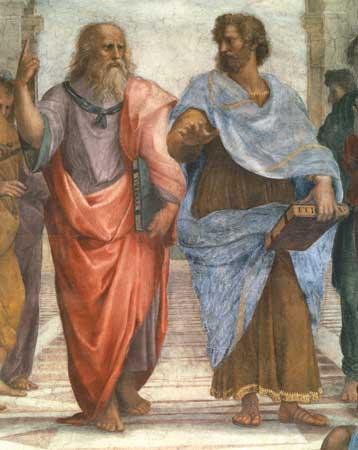 Aristotle consults his graduate advisor Plato